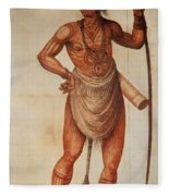Native American Man C1590 Fleece Blanket