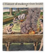 Native Americans: Canoe, 1590 Fleece Blanket