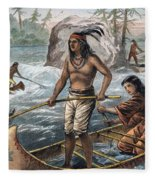 Native Americans/fishing Fleece Blanket