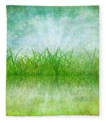 Nature And Grass On Paper Fleece Blanket