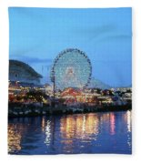 Navy Pier Chicago Digital Art Fleece Blanket