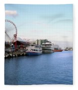 Navy Pier Chicago Summer Evening Fleece Blanket