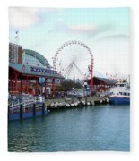 Navy Pier Chicago Summer Time Fleece Blanket