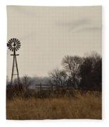 Nebraska Windmill Fleece Blanket