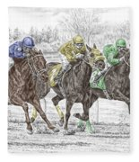 Neck And Neck - Horse Race Print Color Tinted Fleece Blanket