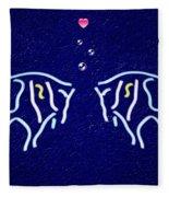 Neon Fish Love Fleece Blanket