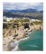 Nerja Town On Costa Del Sol In Spain Fleece Blanket