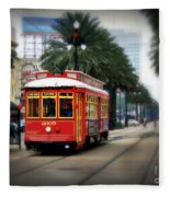 New Orleans Streetcar Fleece Blanket