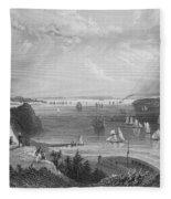 New York Bay, 1838 Fleece Blanket