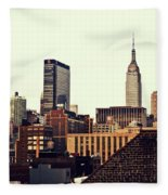 New York City Rooftops And The Empire State Building Fleece Blanket