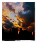 New York City Skyline At Sunset Under Clouds Fleece Blanket