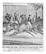 New York: Horse Race, 1845 Fleece Blanket