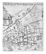 New York Map, 1730 Fleece Blanket