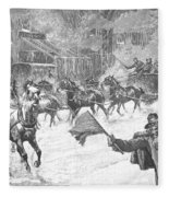 New York: Snowstorm, 1887 Fleece Blanket