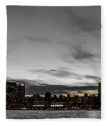 New Yorks Skyline At Night Colorkey Fleece Blanket