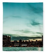 New Yorks Skyline At Night Ice 1 Fleece Blanket