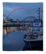 Newcastle Quayside At Night Fleece Blanket