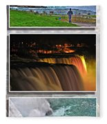 Niagara Falls Usa Triptych Series Fleece Blanket