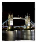 Night Image Of The River Thames And Tower Bridge Fleece Blanket