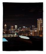 Night Lights Of Atlanta Fleece Blanket
