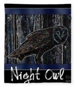 Night Owl Poster - Digital Art Fleece Blanket