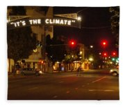 Night Scene At 6th And G Fleece Blanket