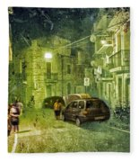 Night Scene In Sicily 2 Fleece Blanket