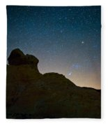 Night Sky Over Valley Of Fire Fleece Blanket