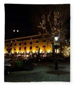 Night View Of St Katherines Dock London Fleece Blanket