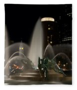 Night View Of Swann Fountain Fleece Blanket