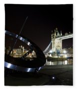 Night View Of The Thames Riverbank Fleece Blanket