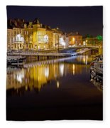 Nighttime Along The River Leie Fleece Blanket