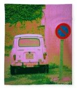 No Parking Sign With Pink Car Fleece Blanket