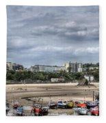 North Beach From Tenby Harbour Fleece Blanket