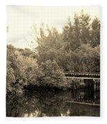 North Fork River In Sepia Fleece Blanket