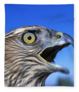 Northern Goshawk With Open Beak Fleece Blanket