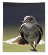 Northern Mockingbird - Lunch Is On The Way Fleece Blanket