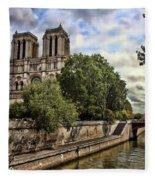 Notre Dame On The Seine Fleece Blanket