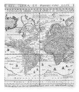 Nova Totius Terrarum Orbis Geographica Ac Hydrographica Tabula Fleece Blanket