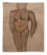 Nude Male Drawing Fleece Blanket