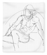 Nude-male-drawings-13 Fleece Blanket