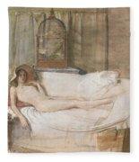 Nude On A Sofa Fleece Blanket