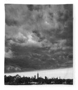 Ny Skyline Approaching Storm Fleece Blanket