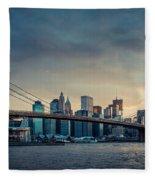 Nyc Skyline In The Sunset V1 Fleece Blanket