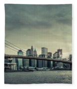 Nyc Skyline In The Sunset V2 Fleece Blanket