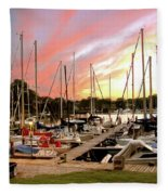 Oak Pt Harbor At Sunset Fleece Blanket