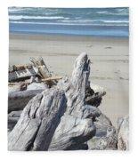 Ocean Beach Driftwood Art Prints Coastal Shore Fleece Blanket