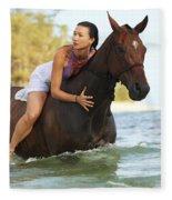 Ocean Horseback Rider Fleece Blanket