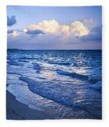 Ocean Waves On Beach At Dusk Fleece Blanket