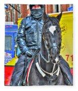 Officer And Black Horse Fleece Blanket